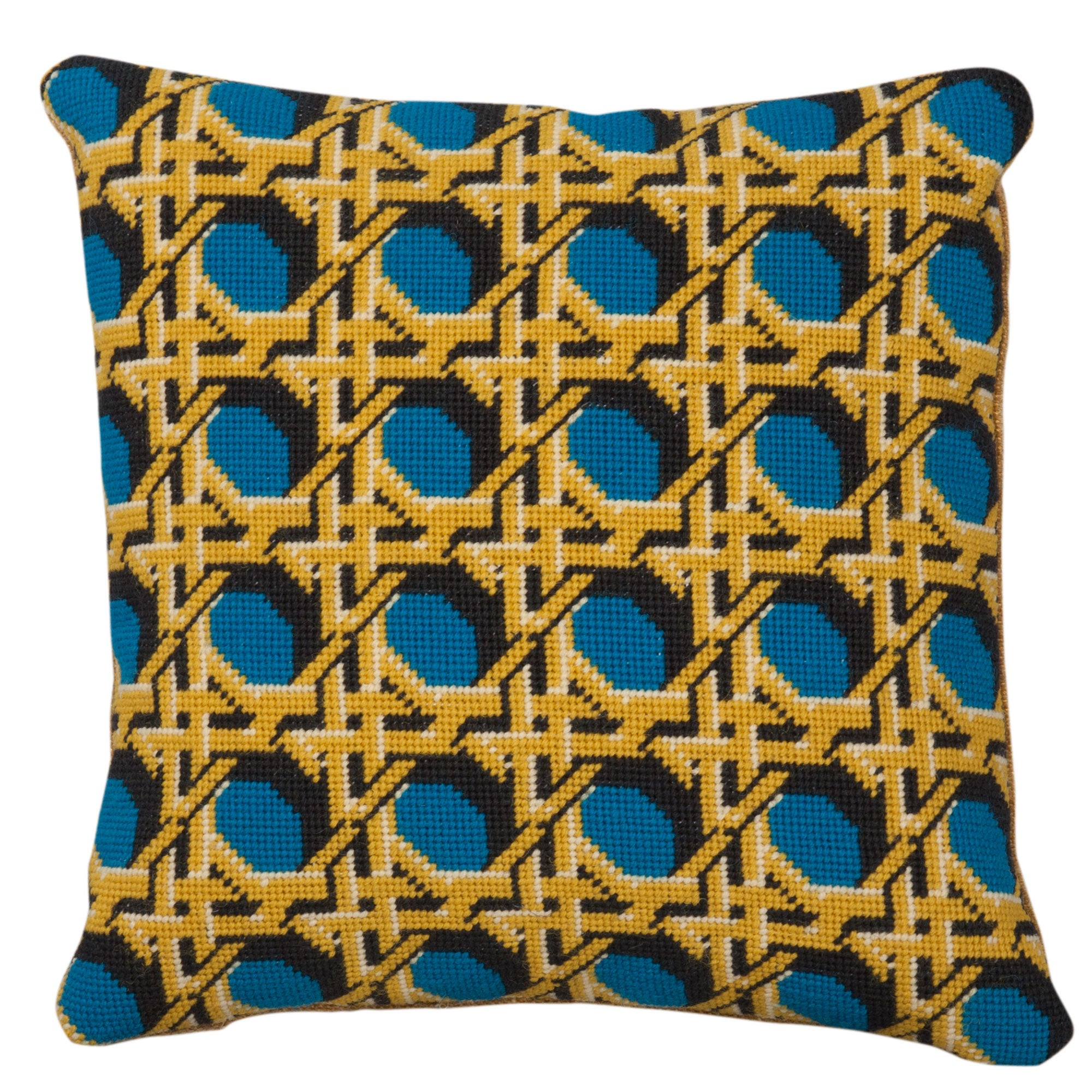 Pentreath & Hall Regency Caning Square Needlepoint Cushion Teal Fine Cell Work