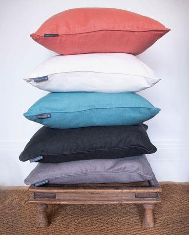 Fine Cell Work Linen Cushions New for Spring Coral White Turquoise Black Grey