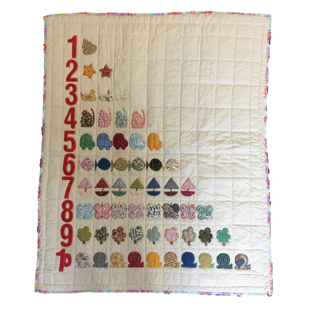 Children's Handmade Quilt Red Numbers Fine Cell Work