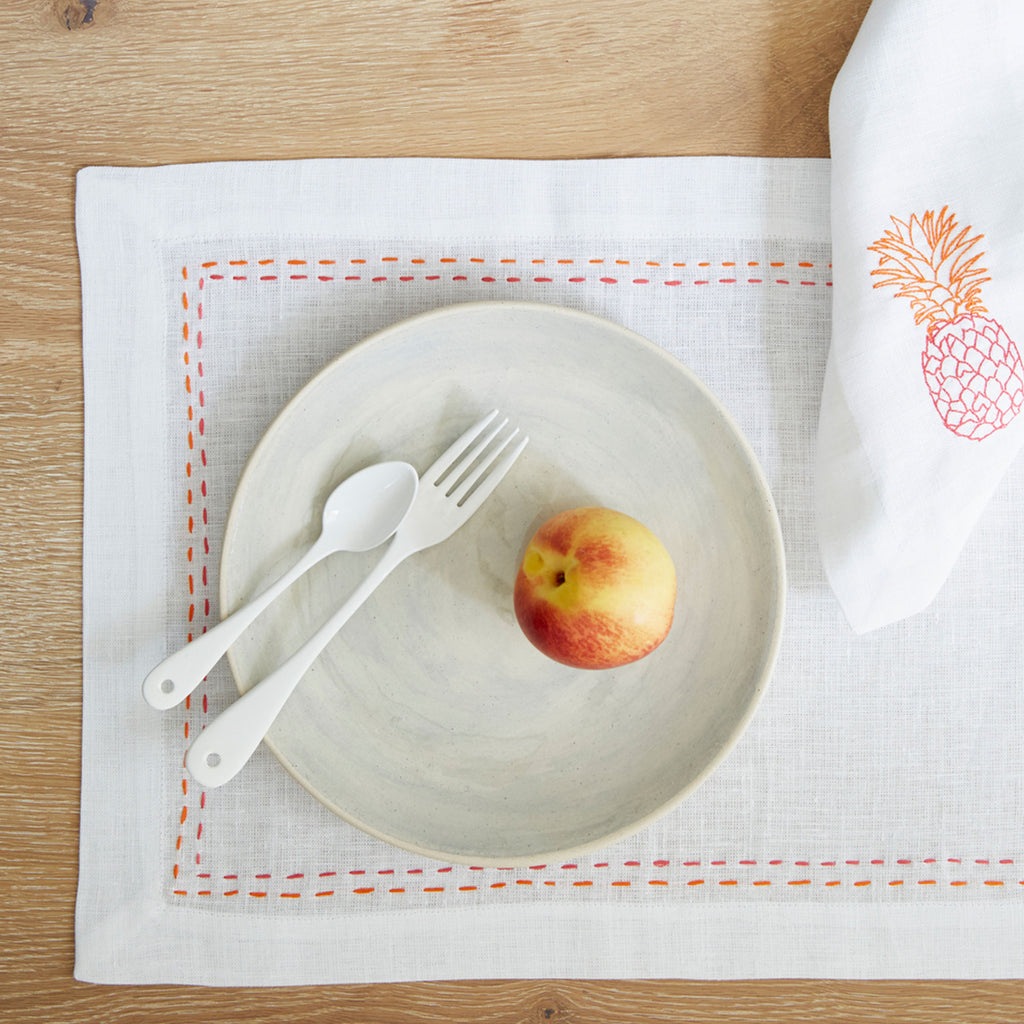 Pineapple Embroidered Table Napkins in Linen Pink and Orange Box of 4 Melissa Wyndham for Fine Cell Work
