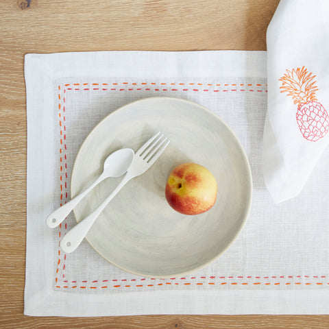 Pineapple Linen Table Mats Pink and Orange Box of 4 Fine Cell Work