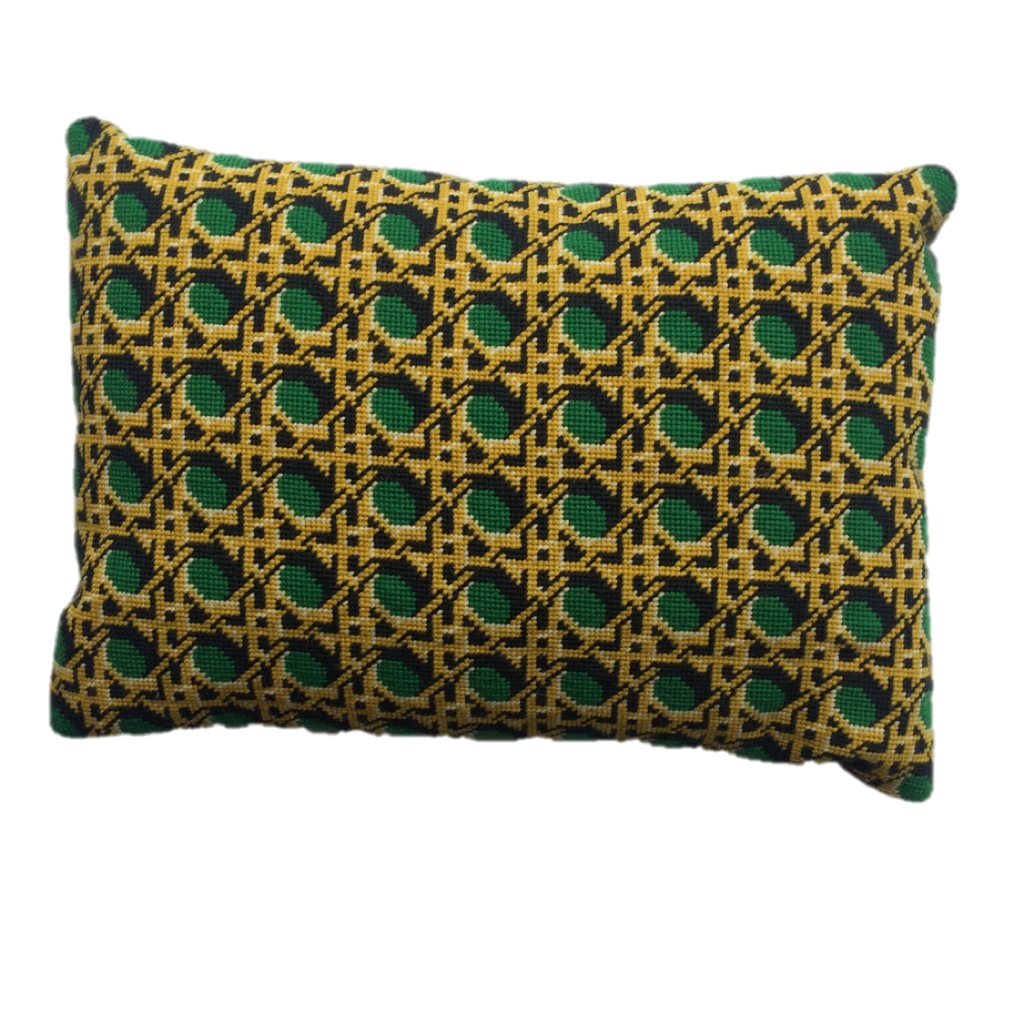 Pentreath & Hall Regency Caning Rectangle Needlepoint Cushion Green Fine Cell Work