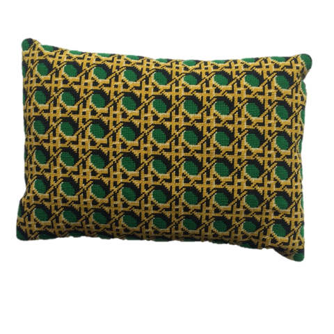 Pentreath & Hall Regency Caning Rectangle Cushion Green
