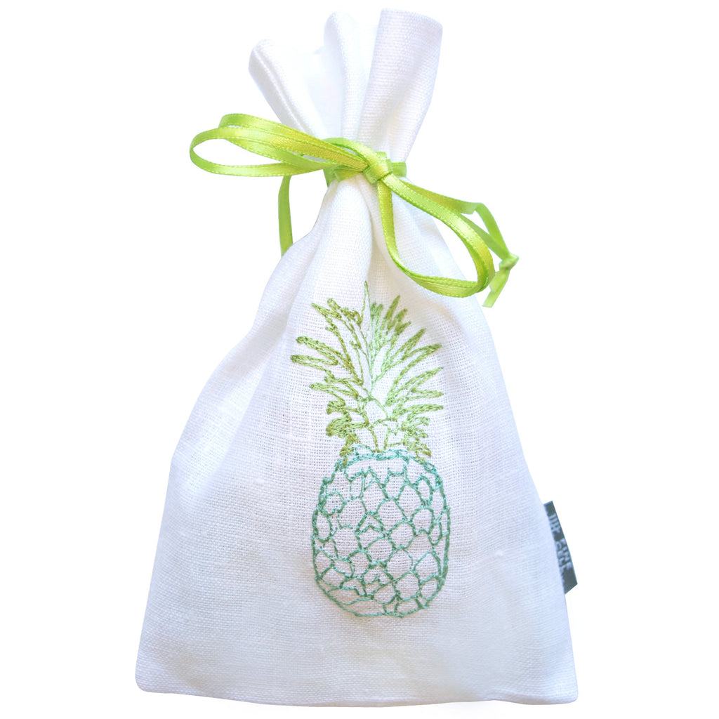 Pineapple Embroidered Lavender Bag Blue and Green Fine Cell Work