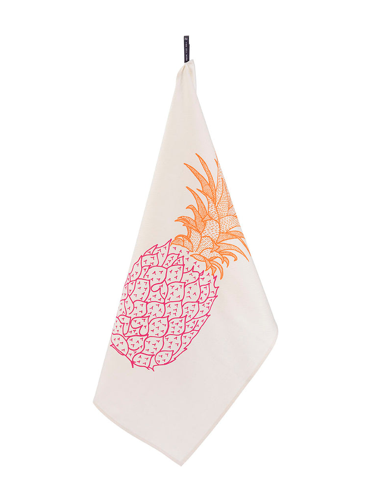 Large Pineapple Organic Cotton Tea Towel Pink and Orange