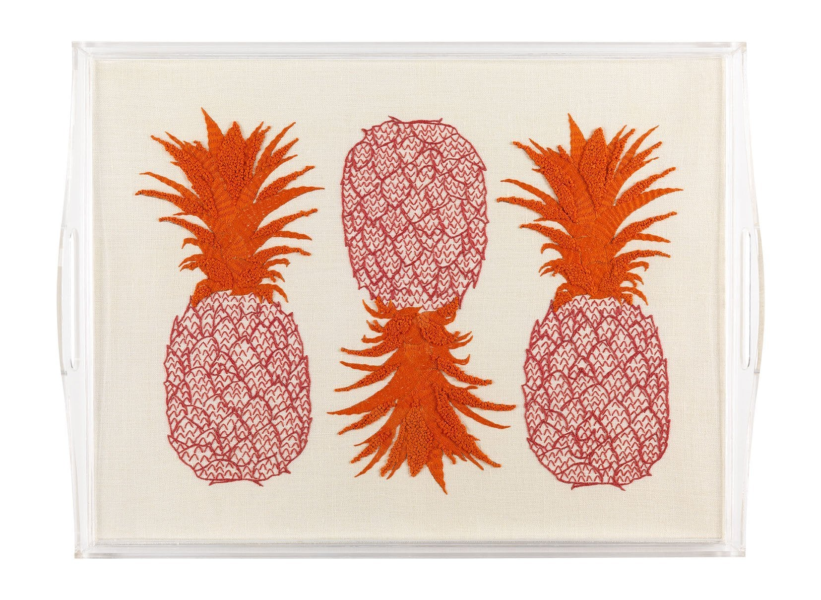 Melissa Wyndham for Fine Cell Work Pineapple Embroidered Tea Tray Pink and Orange