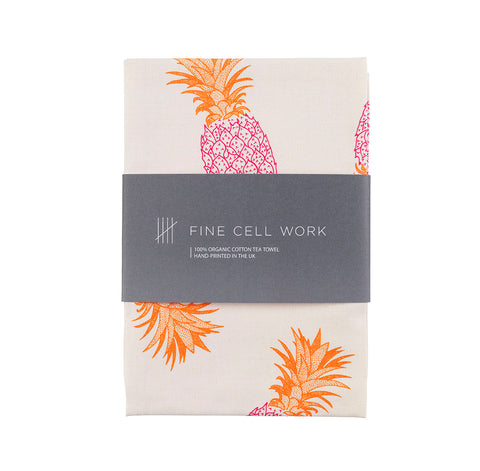Pineapples Organic Cotton Tea Towel Pink and Orange