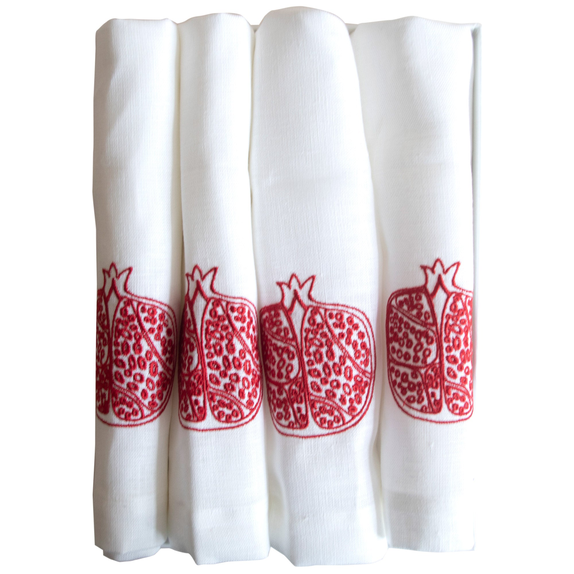Set of 4 Pomegranate Linen Table Napkins Red Embroidered Fine Cell Work