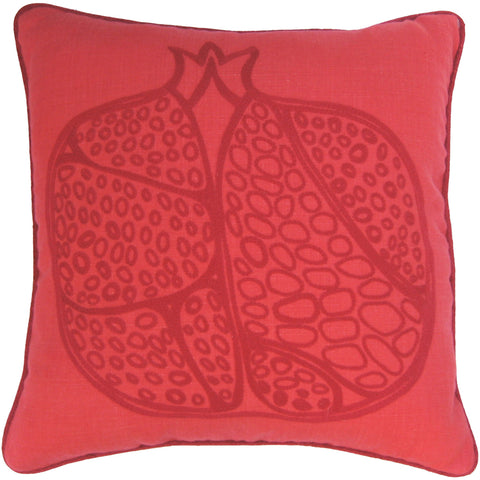 Pomegranate Motif Linen Cushion - Dark Red on Red