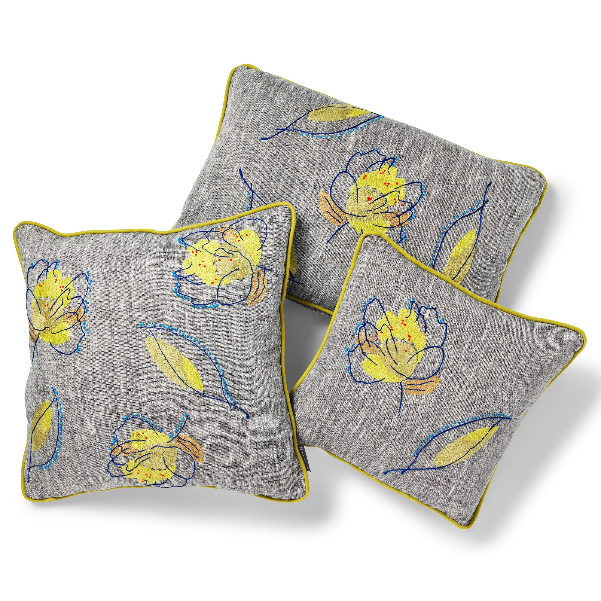 Kit Kemp for Fine Cell Work Rain Shadow Green Leaf Cushions