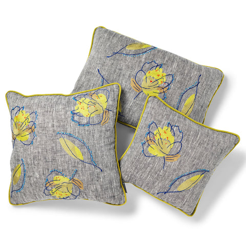 Kit Kemp for Fine Cell Work Rain Shadow Green Leaf Cushion Collection