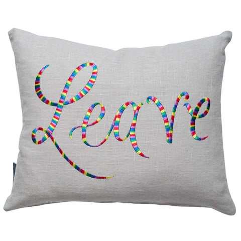 Leave Remain Cushion Bright Rainbow Fine Cell Work