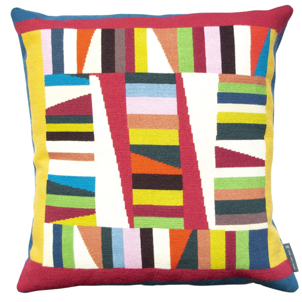 Sandy Geometric Needlepoint Cushion Hand Stitched Multicoloured Fine Cell Work