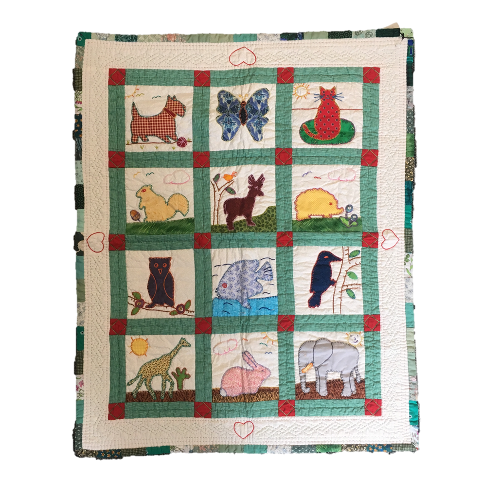 Handmade Children's Quilt Red Terrier Fine Cell Work