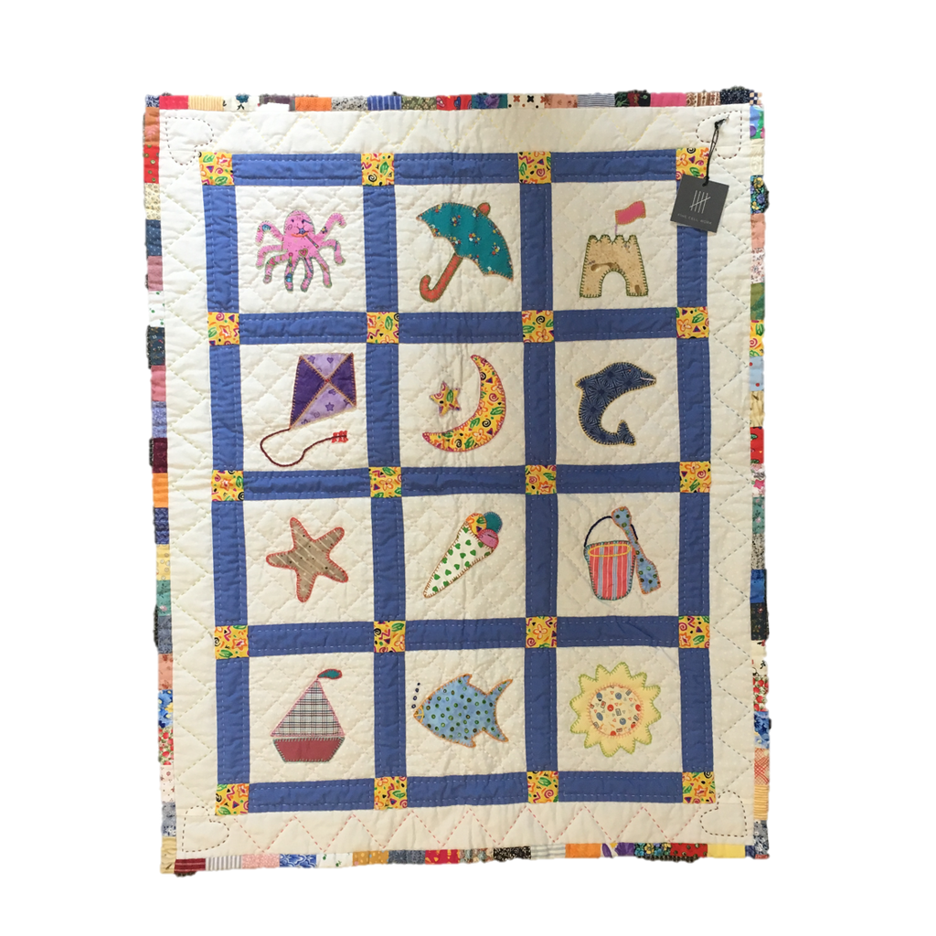 Handmade Children's Quilt Pink Octopus Fine Cell Work