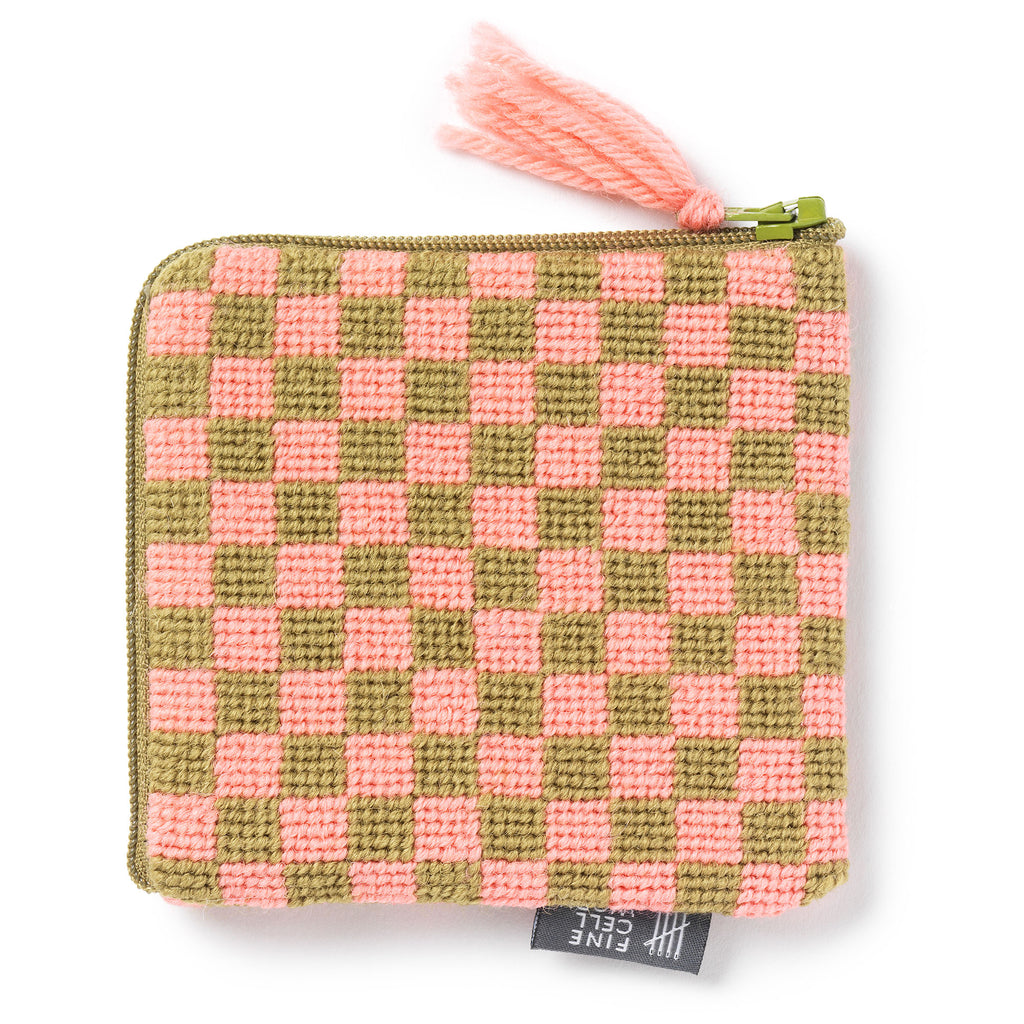 Sissinghurst Needlepoint Chequerboard Purse Pink and Green Cath Kidston for Fine Cell Work