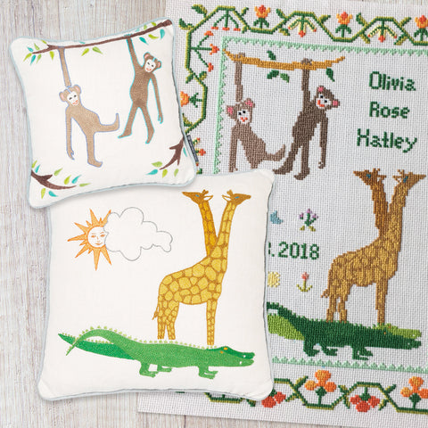 Noah's Ark Crocodile & Giraffe Cushion