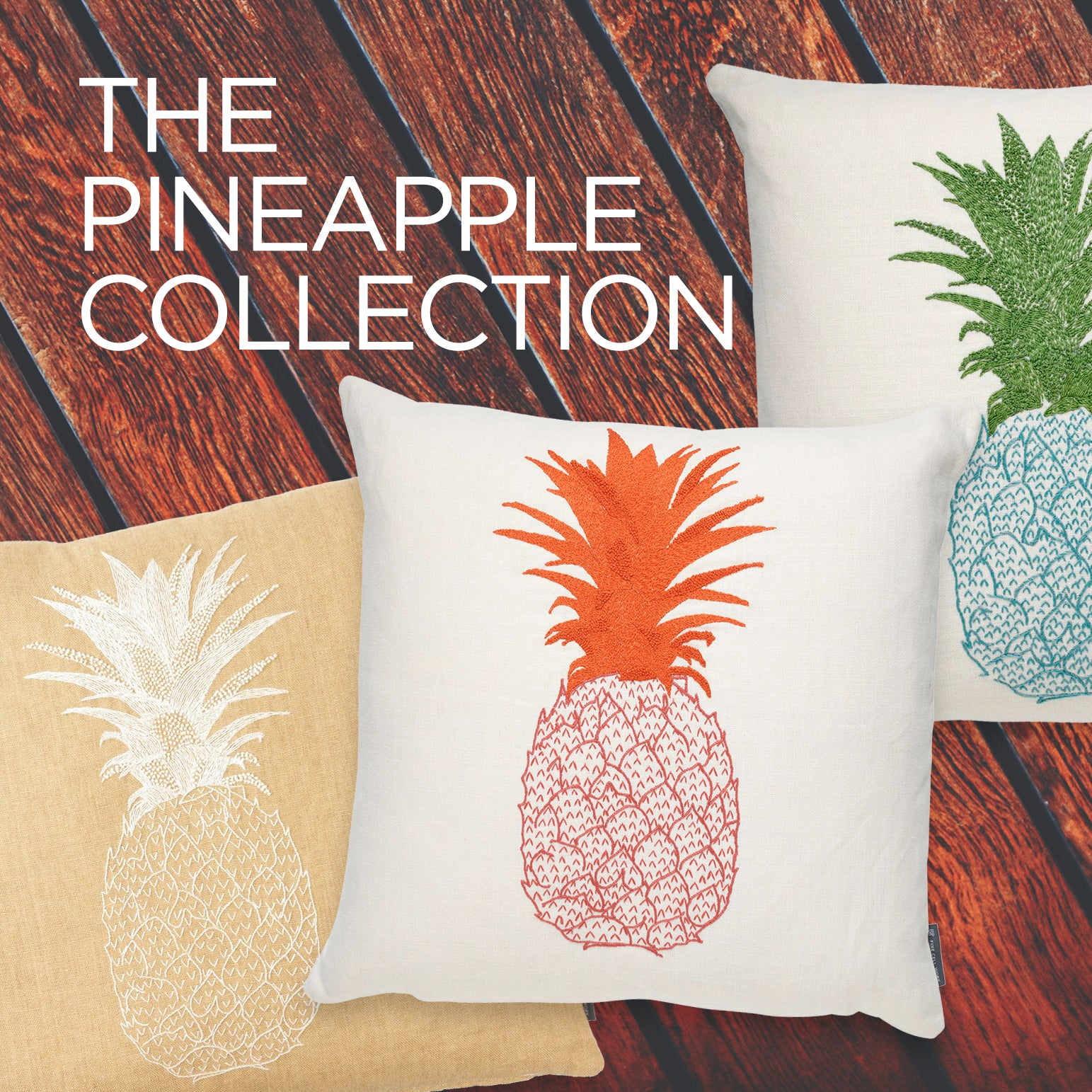 Pineapple Hand-Embroidered Cushion Blue and Green on Cream Linen Melissa Wyndham for Fine Cell Work