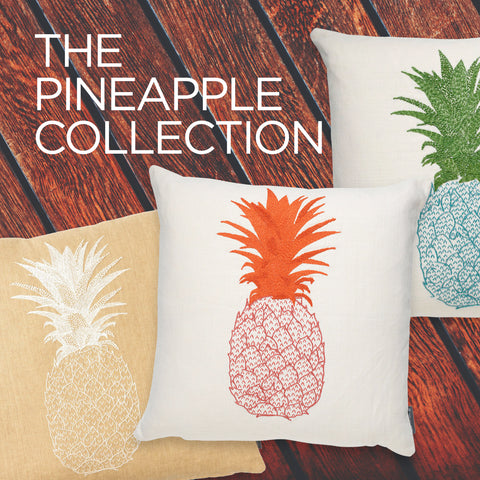 Pineapple Hand-Embroidered Cushion Pink and Orange on Cream Melissa Wyndham for Fine Cell Work