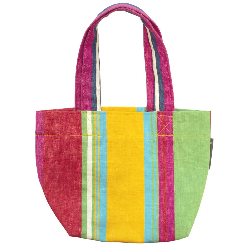 Pool Bag Multi Coloured Stripe Red Yellow Pink Green Fine Cell Work