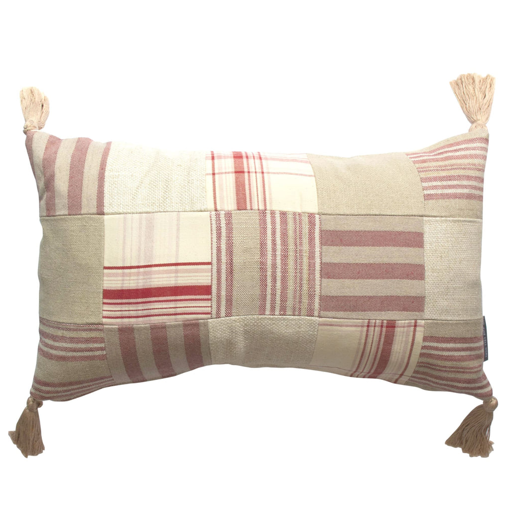 Patchwork Tassel Cushion in Red and Beige