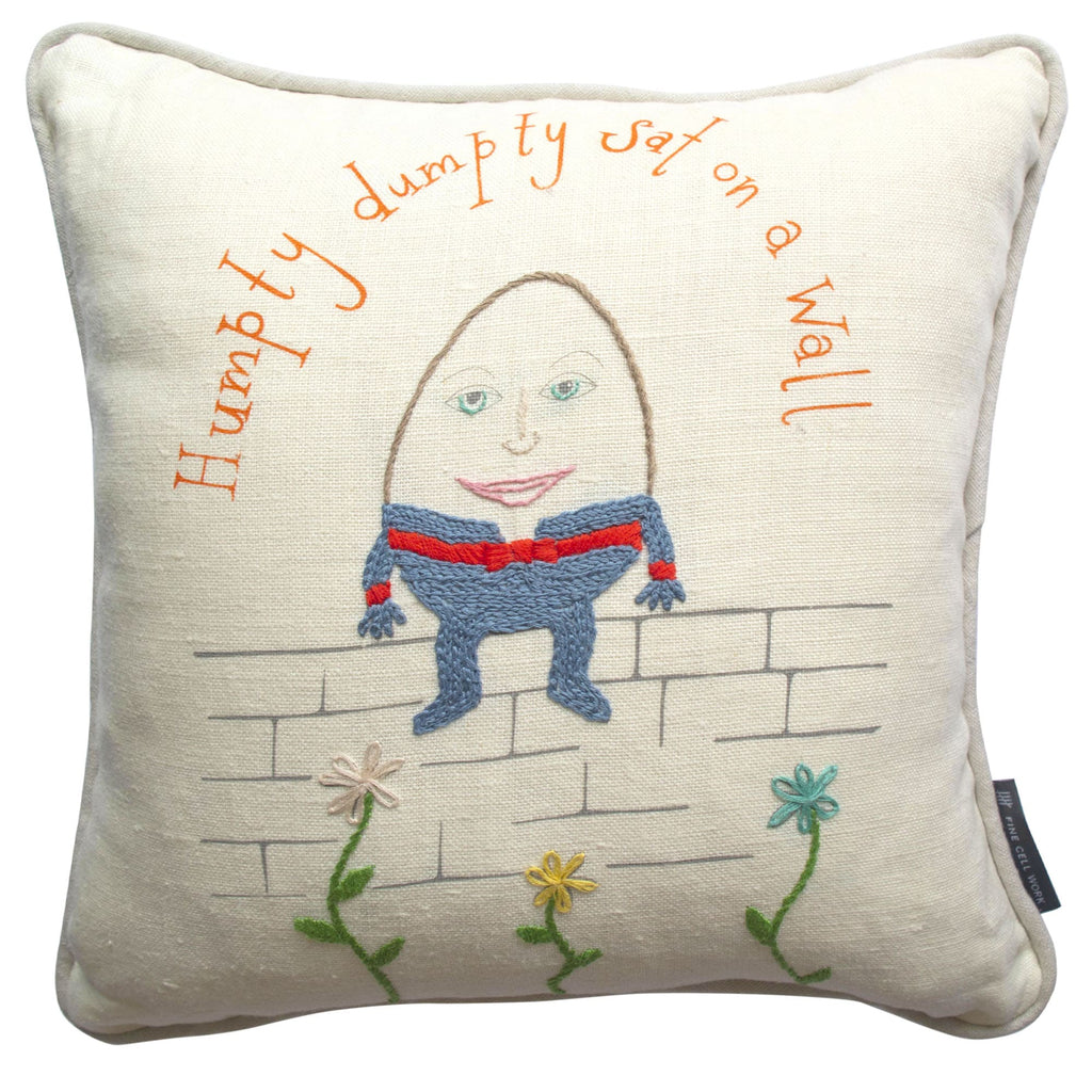 Nursery Rhyme Humpty Dumpty Embroidered Cushion