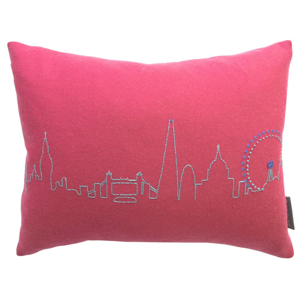 Embroidered London Skyline Cushion Pink
