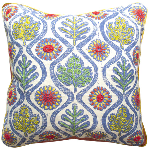 Hand-Embroidered Blithfield Oak Leaves Cushion Blue and Red