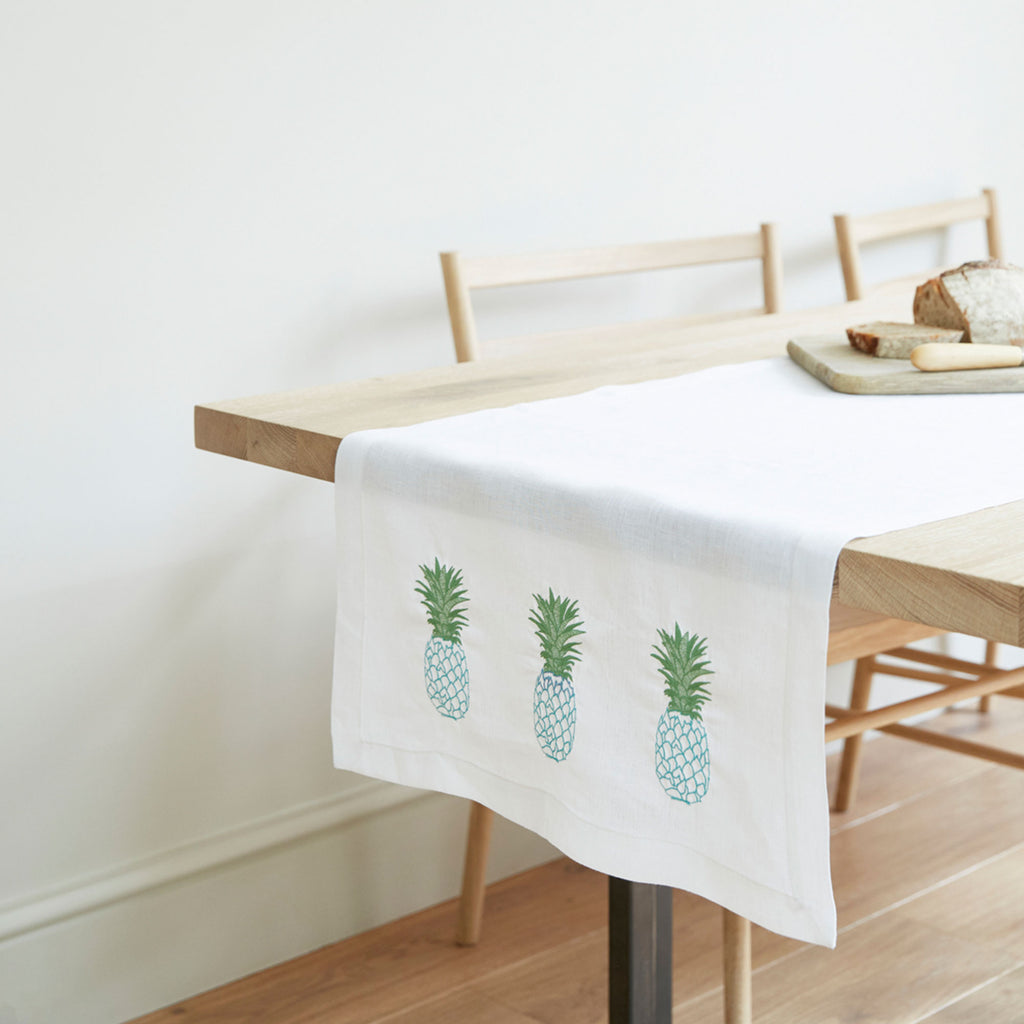 Pineapple Table Runner Blue and Green Pineapple Design