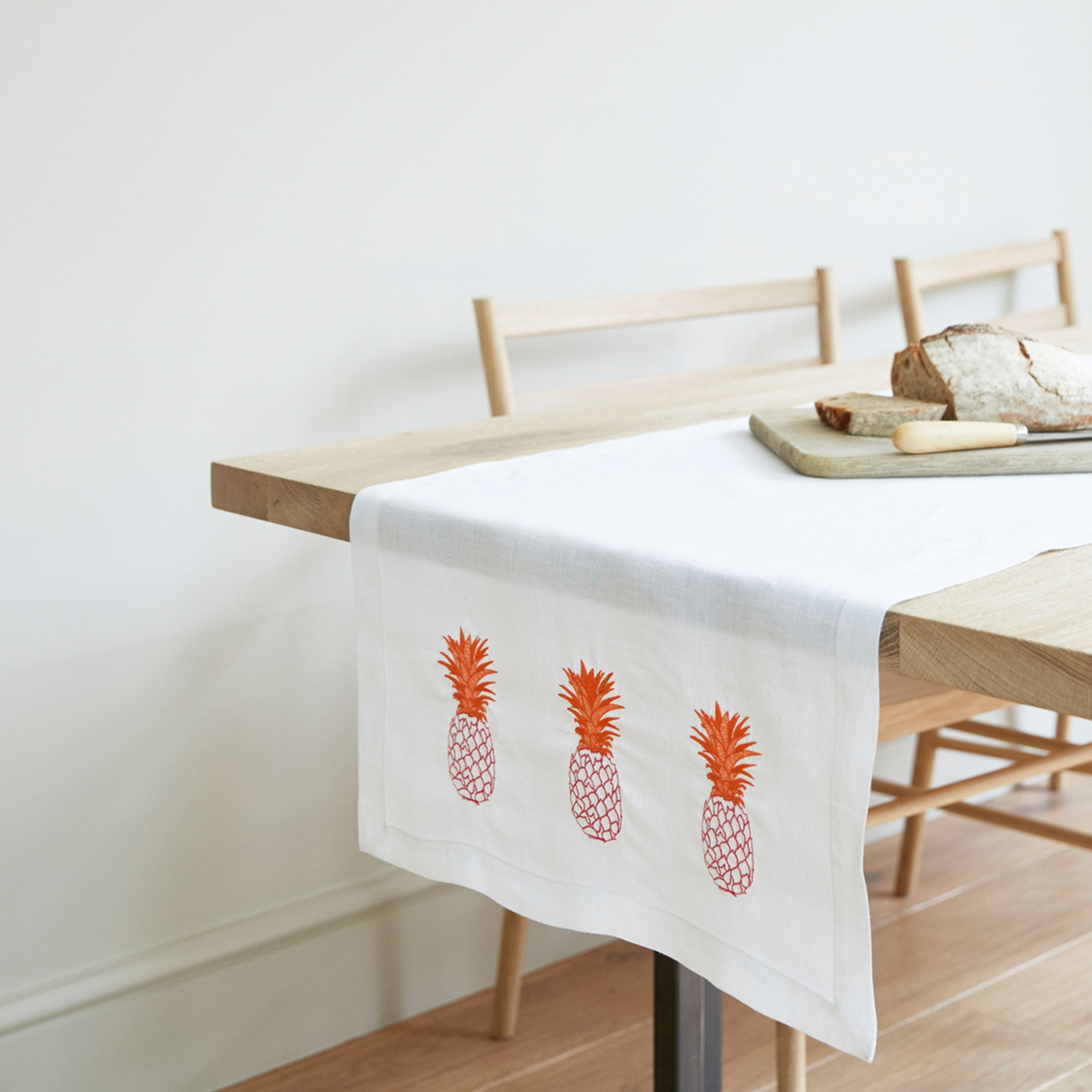 Pineapple Embroidered Linen Table Runner Orange Pink Pineapple Motif Fine Cell Work
