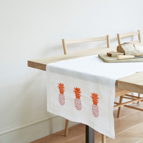 Pineapple Table Runner Pink and Orange Pineapple Design