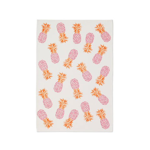 Pink and orange pineapple tea towel on 100% organic cotton and handprinted in the UK featuring our bestselling pineapple design by Melissa Wyndham the perfect way to brighten up your kitchen and make an ideal gift
