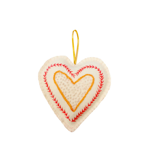 Handmade Orange Hanging Heart Decoration