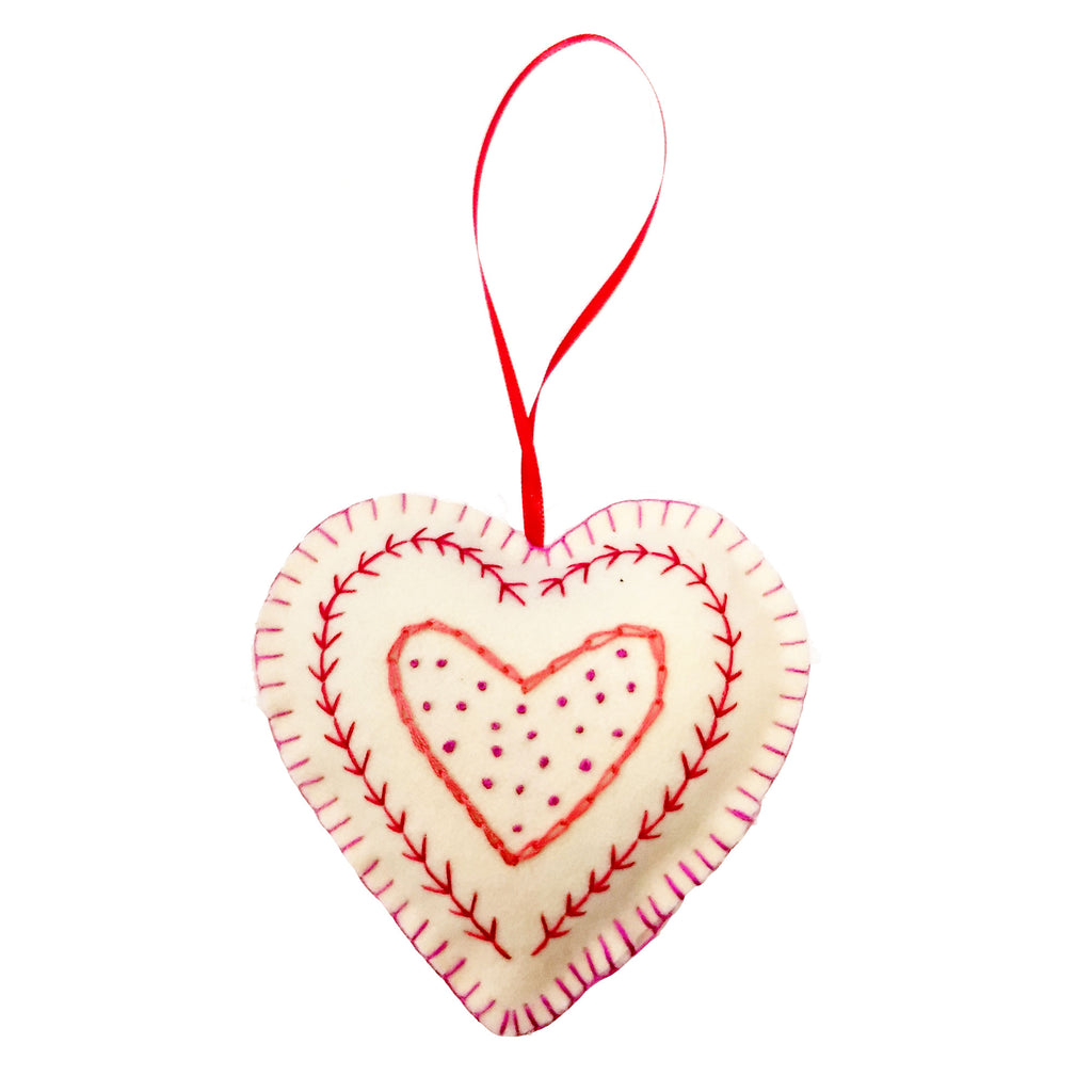 Handmade Hanging Heart Red and Pink Embroidered Fine Cell Work