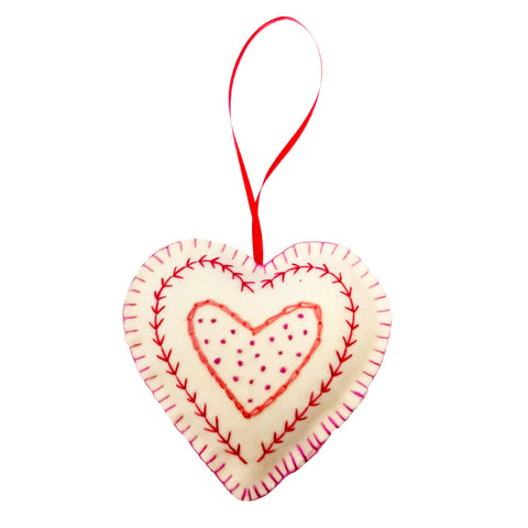 Handmade Hanging Heart Red and Pink