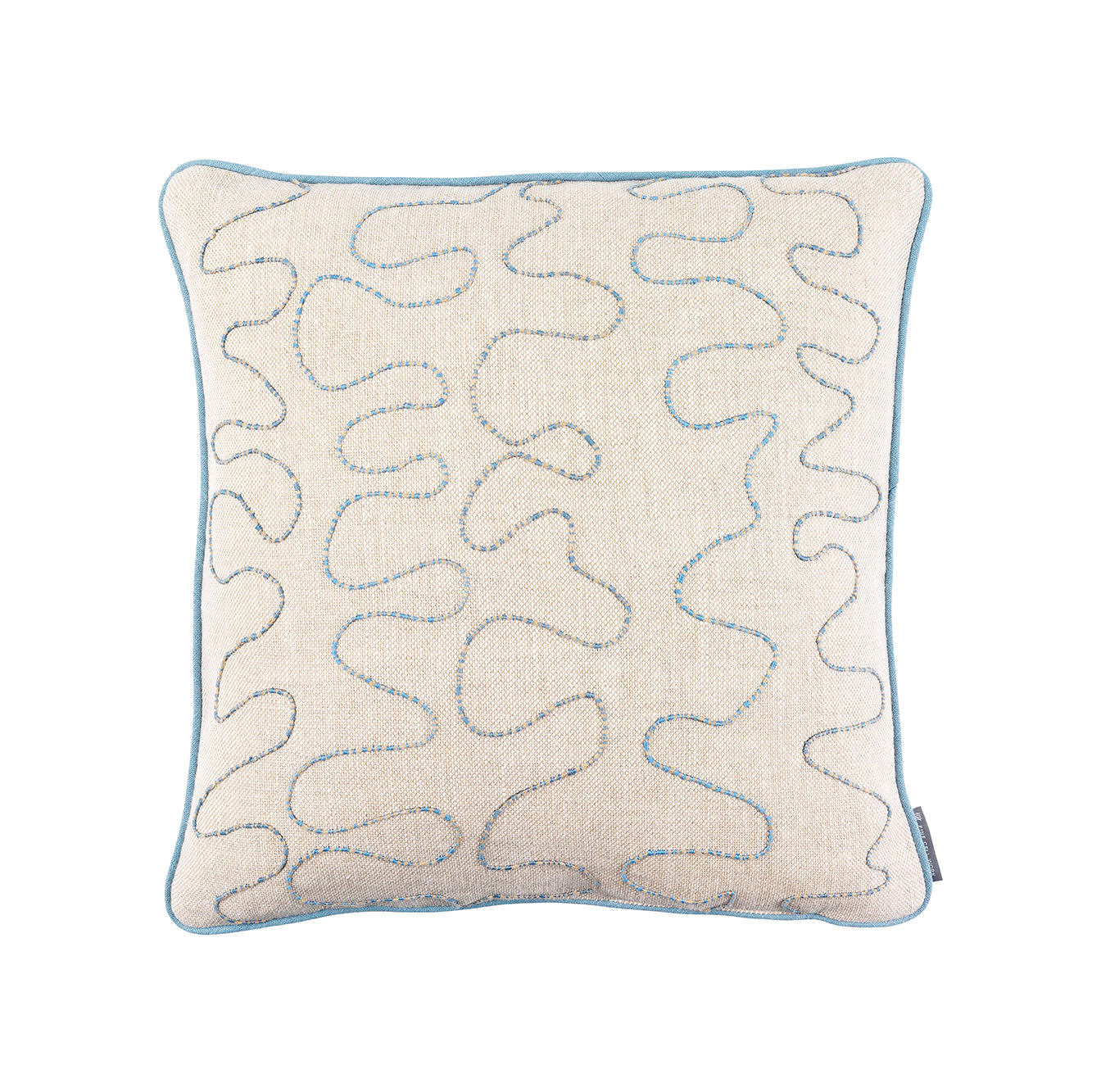 Melissa Wyndham Robert Stephenson Kit Kemp for Fine Cell Work Vermicelli Hand Embroidered Cushion Blue