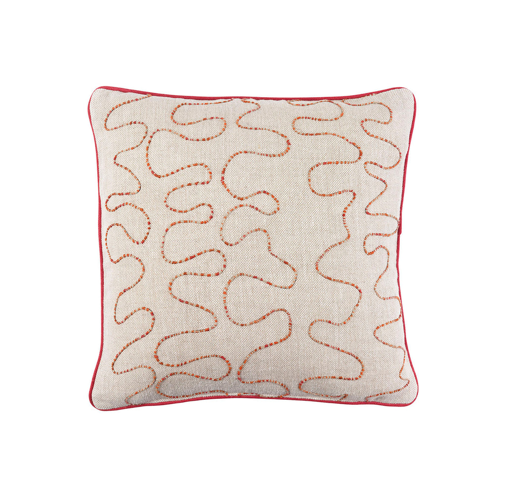 Melissa Wyndham Robert Stephenson Kit Kemp for Fine Cell Work Vermicelli Hand Embroidered Cushion Red