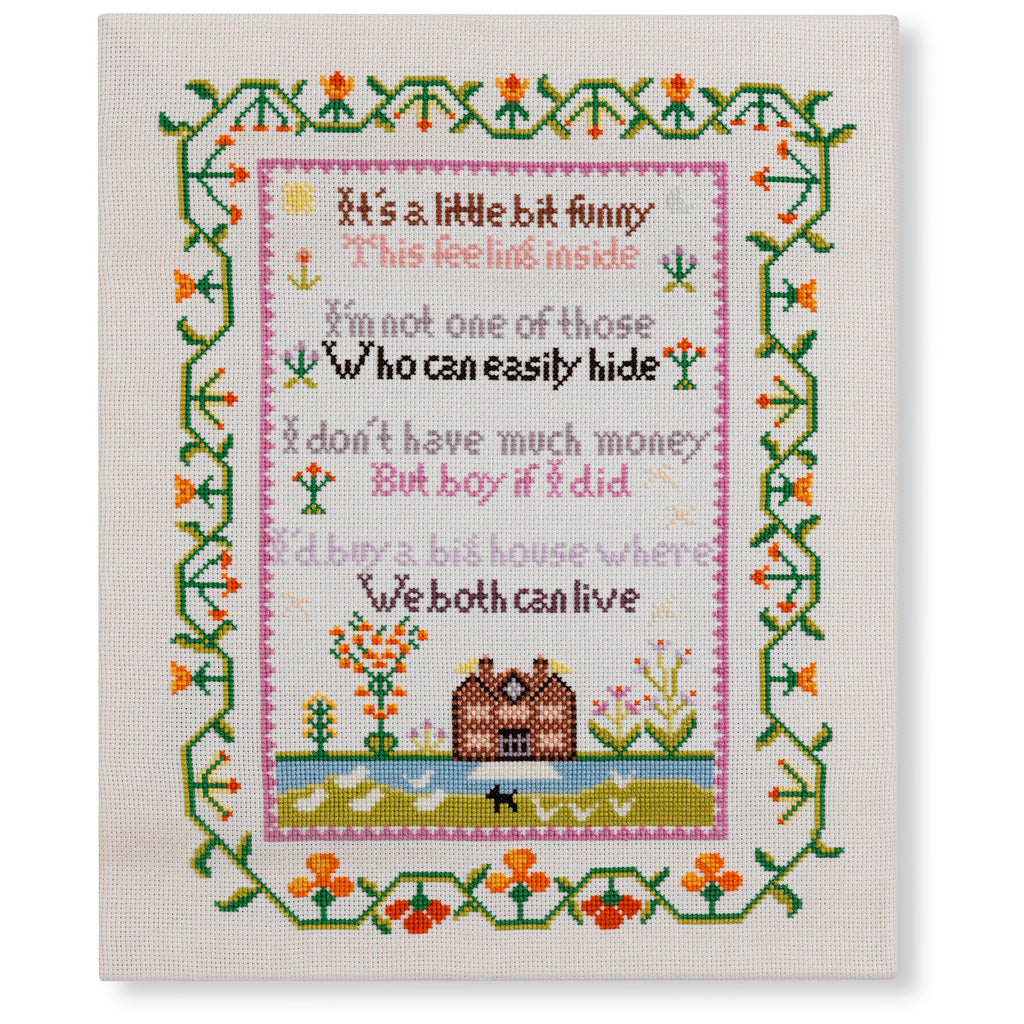 Elton John Lyrics Embroidered Sampler Cross Stitch Handmade Fine Cell Work