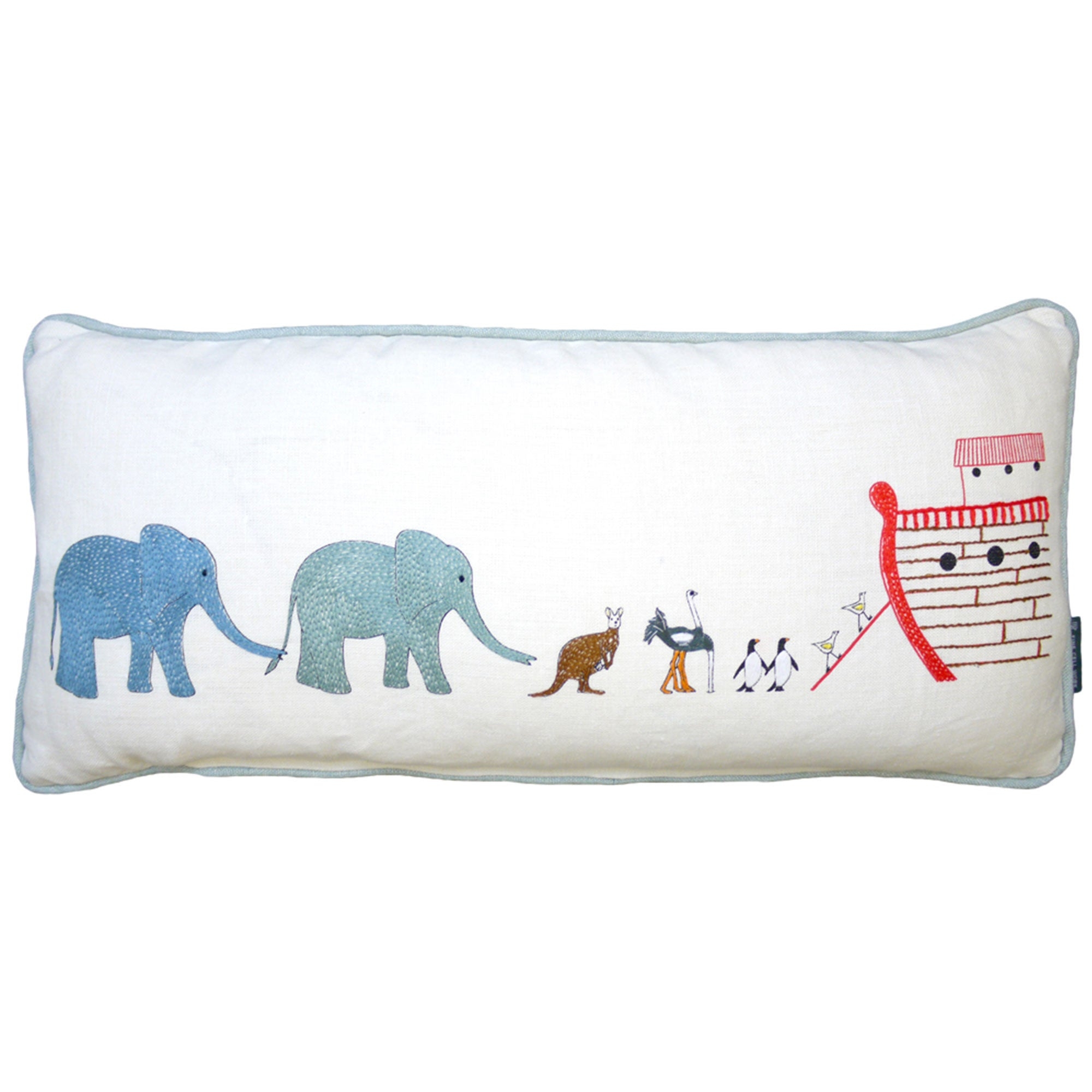 Noah's Ark Embroidered Animals Children's Cushion Fine Cell Work