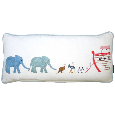 Noah's Ark Embroidered Animals Cushion
