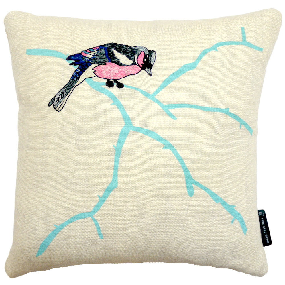 Karen Nicol Blue Bullfinch - Embroidered cushion
