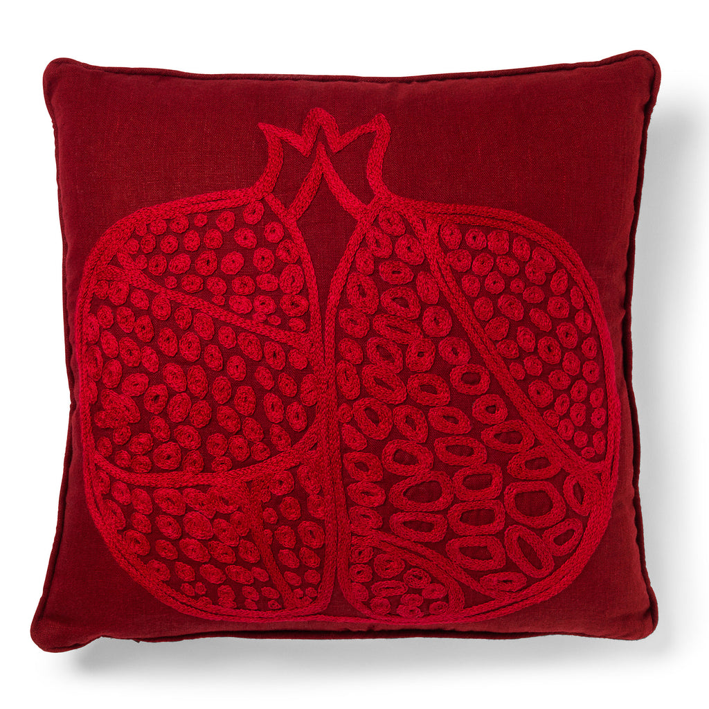 Pomegranate Motif Linen Cushion Wine Red