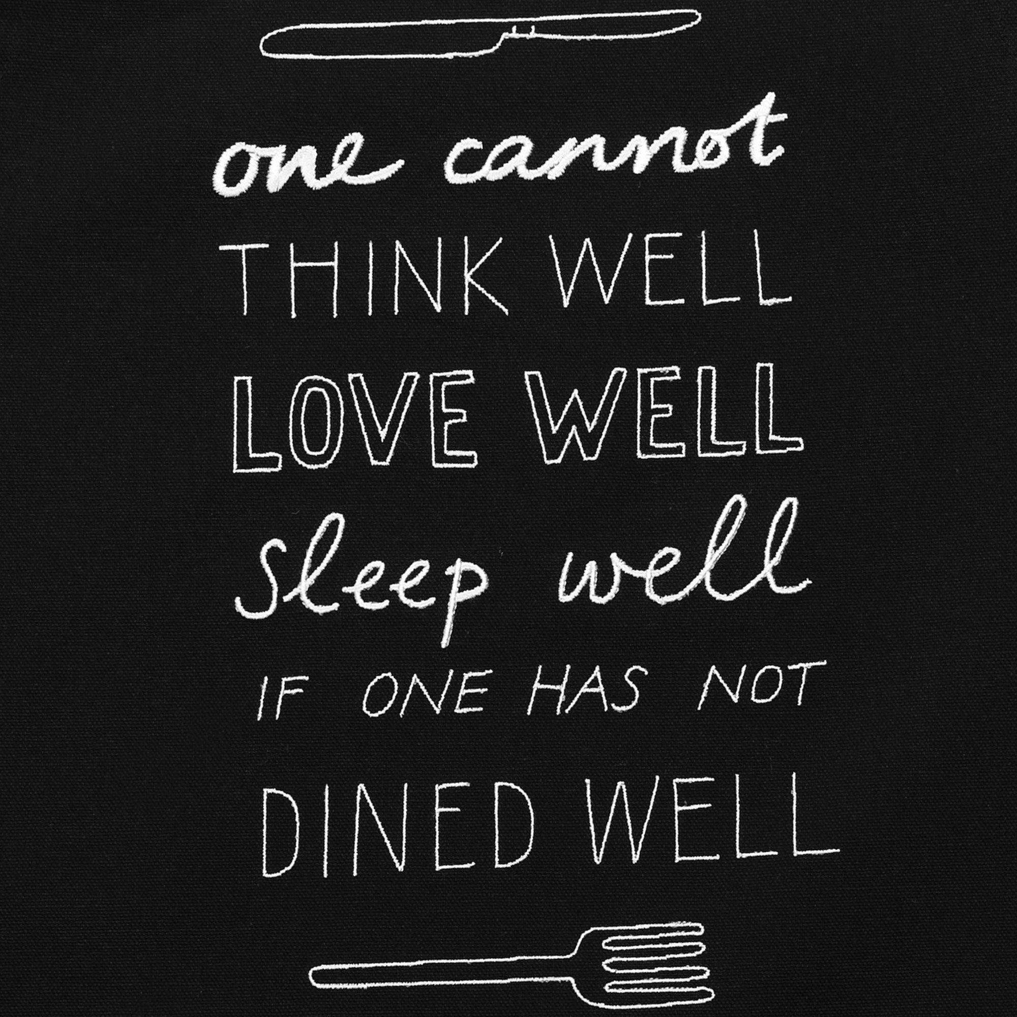 Fine Cell Work Black Organic Cotton Apron Virginia Woolf Quote
