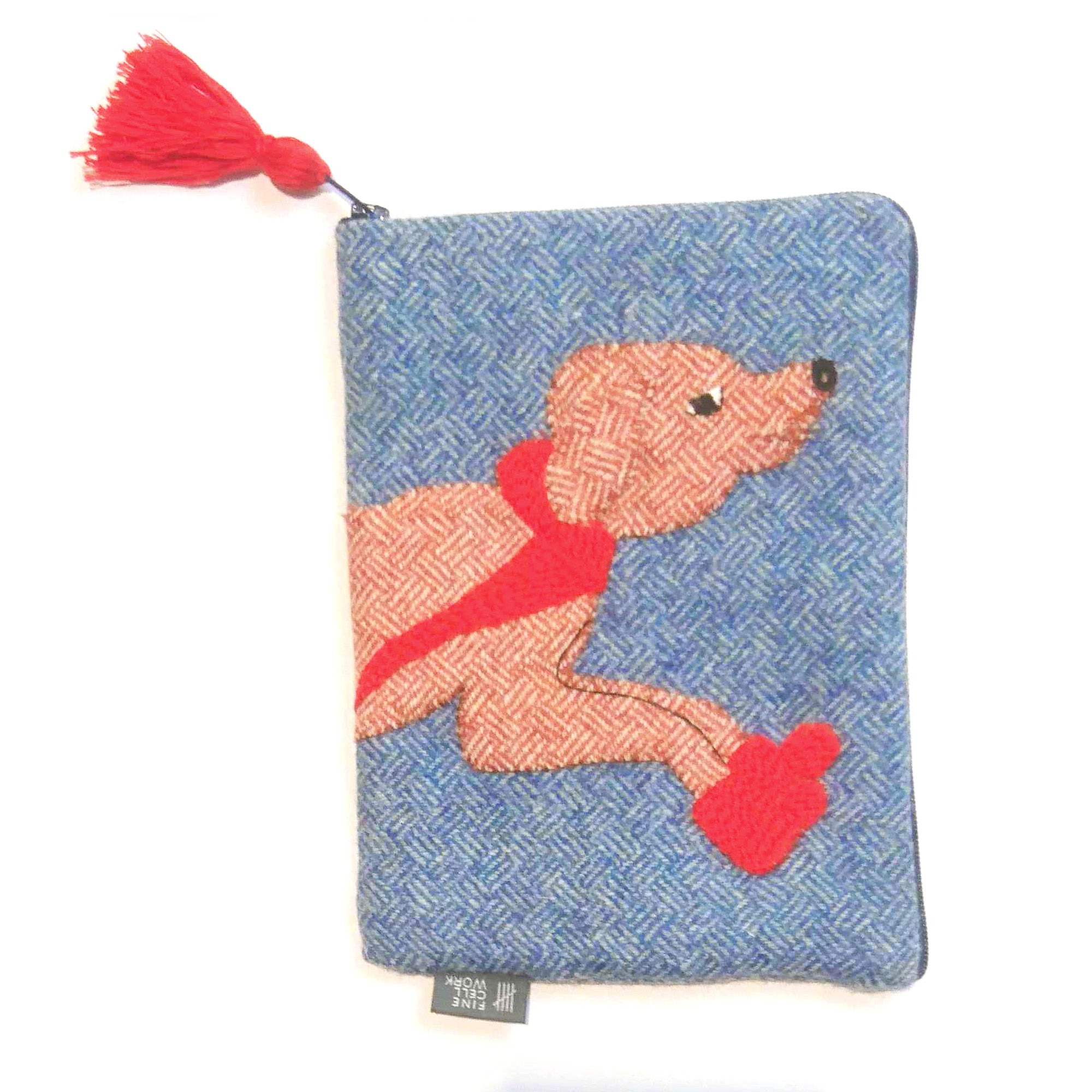 Barney the Dog Appliqué Tweed Pouch Small