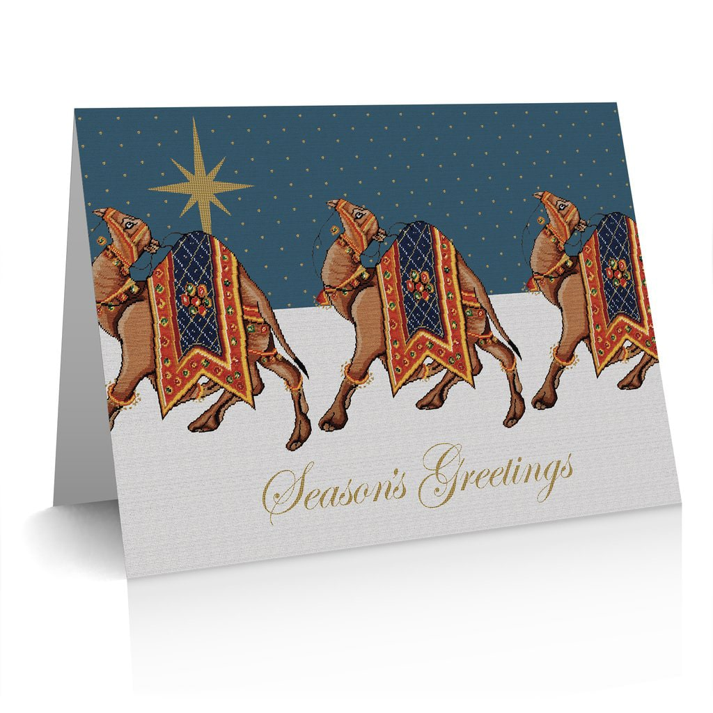 Charity Christmas Cards Pack of 5 Camels Design Fine Cell Work