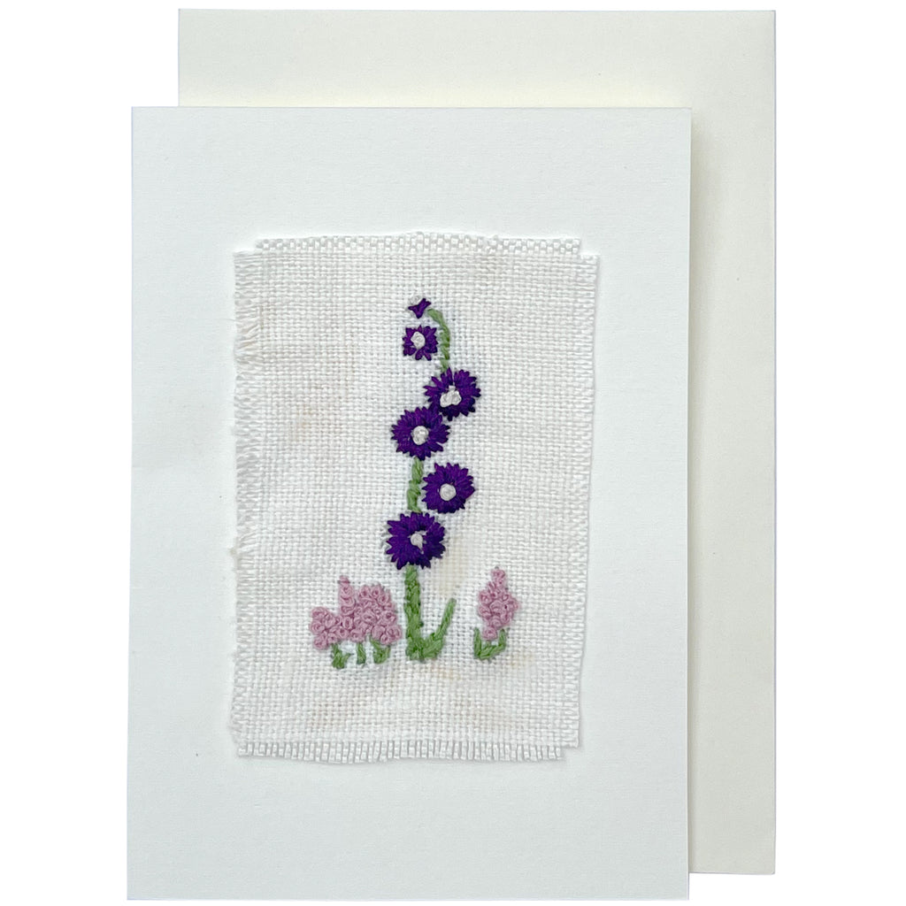 Handmade Hollyhocks Card