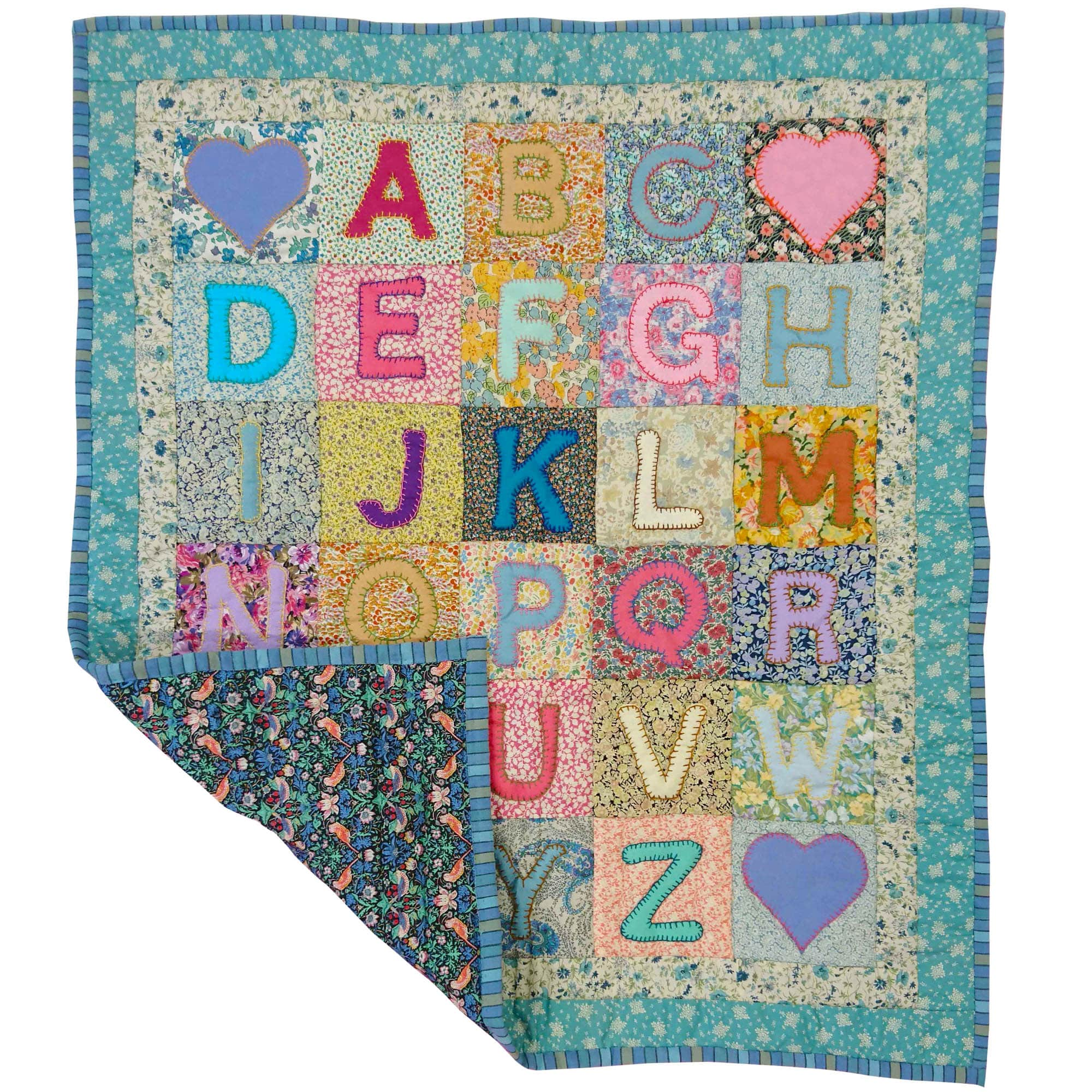 Children's Handmade Alphabet Quilt Floral Turquoise and Pink