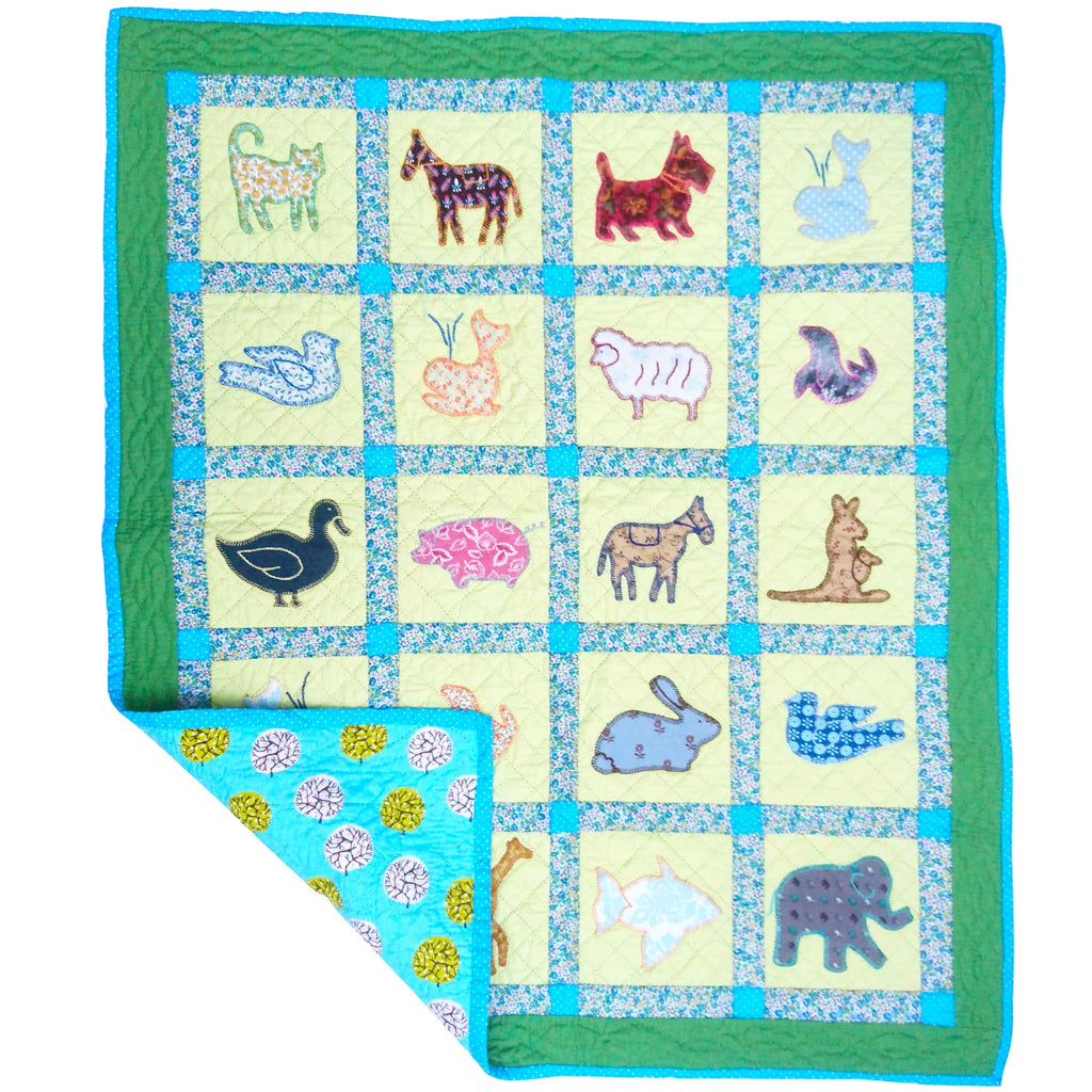 Children's Handmade Quilt Animal Allsorts