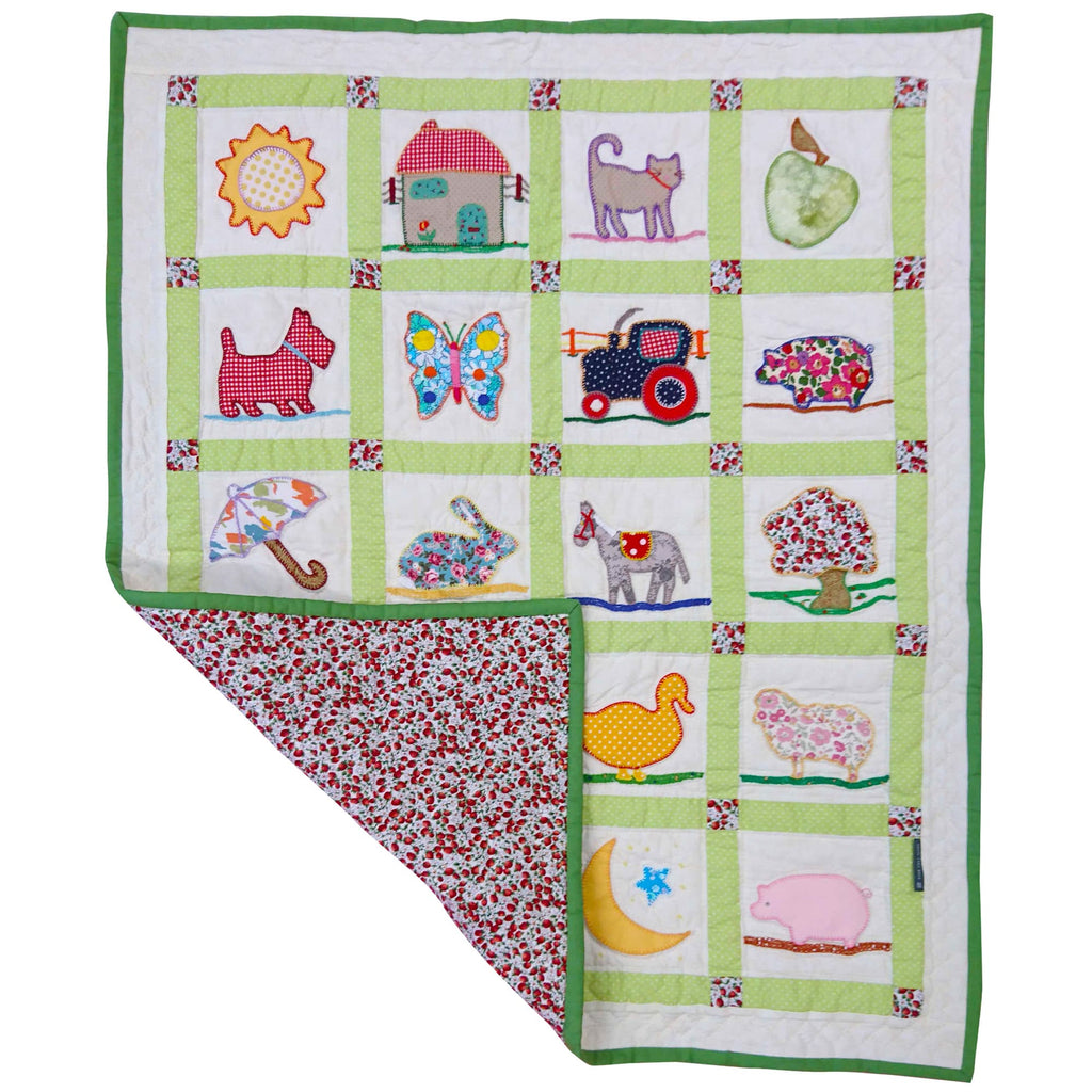 Children's Handmade Quilt Countryside Animals