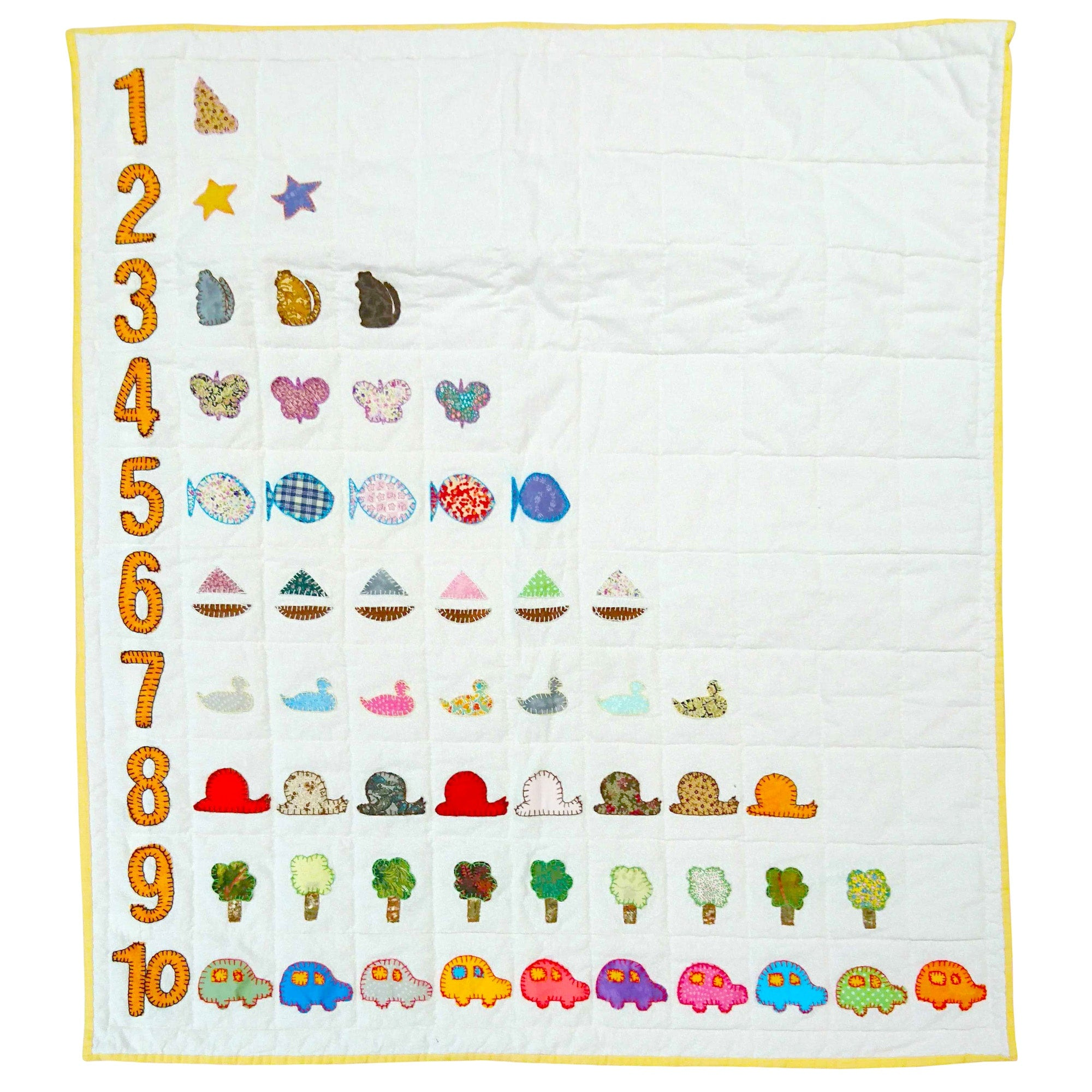 Children's Handmade Quilt Learning Numbers
